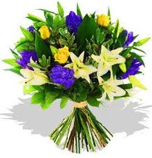 blue lilies blue irises yellow roses and white lilies electric blue