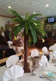 palm tree centerpieces made from pvc piping artificial fern