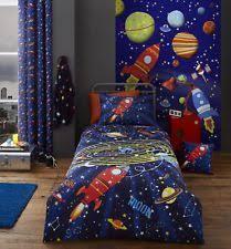 Boys Space Curtains Children U0027s Rocket Ships U0026 Space Bedding U0026 Duvet Sets Ebay