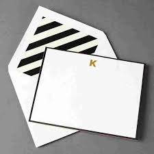monogram stationery k monogram flat cards by kate spade new york set of 10