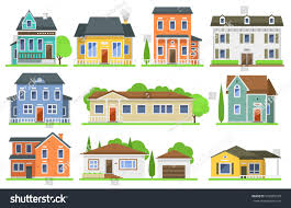houses front view vector illustration stock vector 593820728