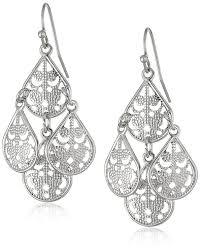 White Chandelier Earrings Amazon Com 1928 Jewelry Brass Filigree Teardrop Chandelier