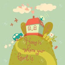 Cute House by Home Is Where Your Heart Is Card With Cute House And Car Vector