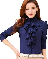 ruffle blouse voguegirl career fitted lace tops ruffle high neck