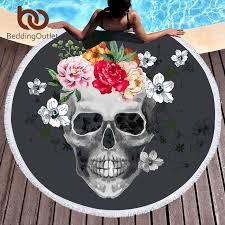 beddingoutlet sugar skull towel floral tassel tapestry