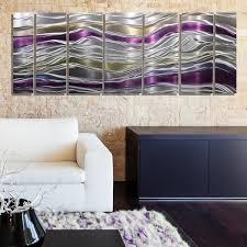 metal wall design modern living endeavor abstract purple silver and gold modern metal wall decor