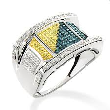 sterling diamond rings images White blue yellow diamond ring for men 0 60ct sterling silver jpg