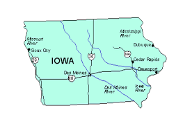 map us iowa iowa us state powerpoint map highways waterways capital and