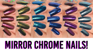 a rainbow of mirror chrome powder nails 6 new colors youtube
