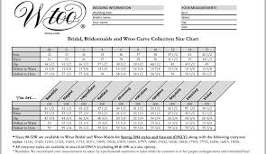 size chart for wedding dresses wtoo bridesmaid dresses size chart of the dresses