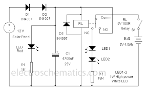 solar powered led l circuit