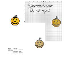 small halloween pumpkin smile face free cross stitch pattern