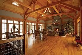 New Home Interior Colors by Open Timber Frame Room Walls Of Windows On Both Sides Stone