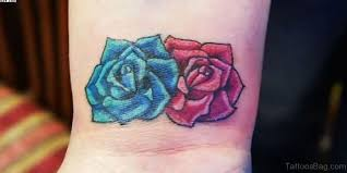 22 cool blue rose tattoos on wrist