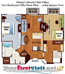 Two Bedroom Floor Plan by Review Disney U0027s Beach Club Villas Yourfirstvisit Net