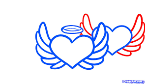 draw angel hearts step by step drawing sheets added by dawn