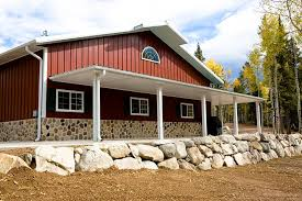 beautiful metal building w wrap around porch u0026 stone wainscot hq