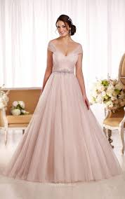 pink wedding dresses uk floor length cap sleeves ethereal tulle gown wedding dress
