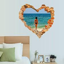 homefind removable 3d love patern brick hole spending holiday on homefind removable 3d love patern brick hole spending holiday on the beach wall stickers peel stick living room bedroom wall decals vinyl wall art home