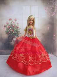 pretty gown red applqiues strapsmade fit barbie doll