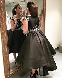 arabic elegant high low evening dresses 2018 black short front