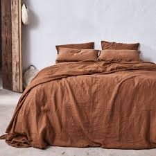 100 linen duvet set in tobacco u2014 in bed store
