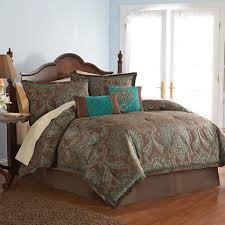 jacquard paisley 4pc king comforter set with brown turquoise