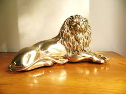 metal lion statue vintage brass lion figurine gold lion sculpture large lion
