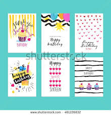 happy birthday party cards set cake stock vector 548627923