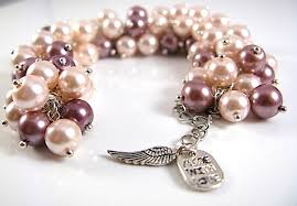 pink pearl bracelet images Light pink brown pearl cluster statement unique bracelet jpg