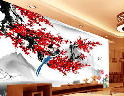 modern wallpaper for living room chinese style plum blossom ink