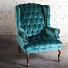Velvet Wingback Chair Design Ideas Blue Velvet Wingback Chair Ldnmen Com