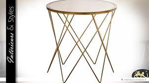 bout de canap verre bout de canapé rond design en métal doré et verre ø 60 cm