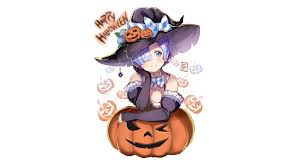 anime halloween wallpaper rem anime halloween witch pumpkin re wallpaper 12885