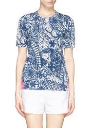 tory burch u0027ariel u0027 dreamcatcher print knit t shirt in blue lyst