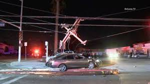 car crashes into pole triggers power outage in anaheim nbc