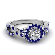 diamonds sapphire rings images Entwined halo diamond engagement ring with sapphire in 14k white jpg