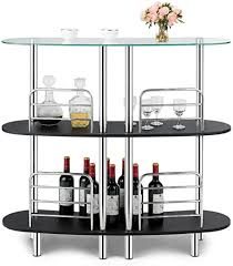 tempered glass shelves for kitchen cabinets costway 3 tier glass liquor bar cabinets wine bar storage with tempered glass counter top and metal frame bar unit with 2 shelves bar organize