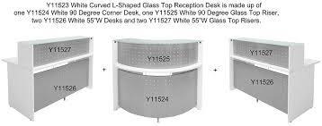 curved l shaped glass top reception desk