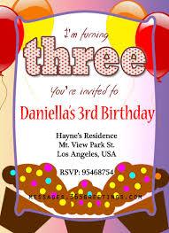 3rd birthday invitation card free 3rd birthday party invitation