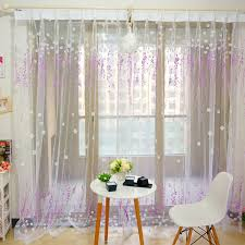 Purple Sheer Curtains Beautiful Floral Pattern Polyester Purple Sheer Curtains
