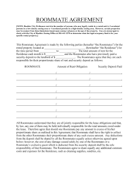 Sample Roommate Contract Prime Broker Sample Resume