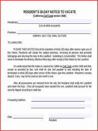 fresh 30 day notice to vacate california template job latter