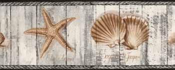 kr2373b beach wood seashell wallpaper border discontinued