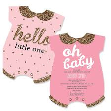 pink and gold baby shower invitations hello one pink and gold baby bodysuits shaped girl baby
