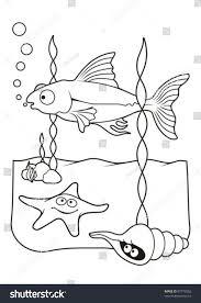 underwater scene fish starfish shell cartoons stock vector
