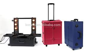 professional makeup artist lighting pvc cosmetic working station rolling beauty box with lights view