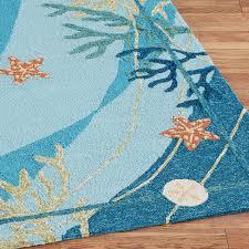 Outdoor Rug Turquoise by Underwater Coral Starfish Indoor Outdoor Rugs