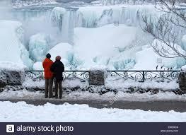 frozen niagara falls american falls couple admiring