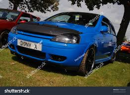 vauxhall blue peterborough england may 23 blue vauxhall stock photo 73566646